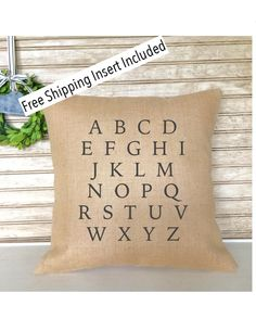 Alphabet Pillow | Farmhouse Decor | ABC Pillow | Custom Pillow - Insert Included * FREE SHIPPING * by SimplyFrenchMarket on Etsy