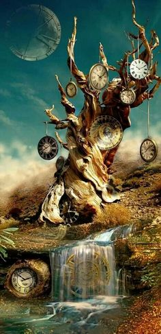 Surrealism and fantasy of the imagination. Clocks representing memory