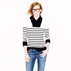 Shawl-collar stripe sweatshirt