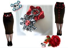 Look rockabilly, falda tubo de hell bunny con diadema red catrinas by Hadas Pin Up, disponible en www.hadaspinup.com #rockabilly #pinup