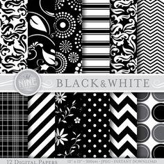 "Digital Paper BLACK & WHITE Pattern Prints SEAMLESS, Instant Download, 12"" x 12"" Color Series Patterns Backgrounds Scrapbook Print"