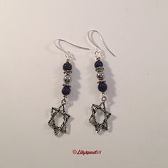 Star of David Blue Stone Beaded Earrings, Gift for Her, Dangle, Drop Earrings, Holiday, Hanukkah, Jewish, Boemian, Natural Stone