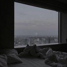 "lunasea: ""ig: h_mooi "" Gray Aesthetic, Night Aesthetic, Black And White Aesthetic, Aesthetic Bedroom, Apartment View, Dark Paradise, Applis Photo, Window View, Dream Rooms"