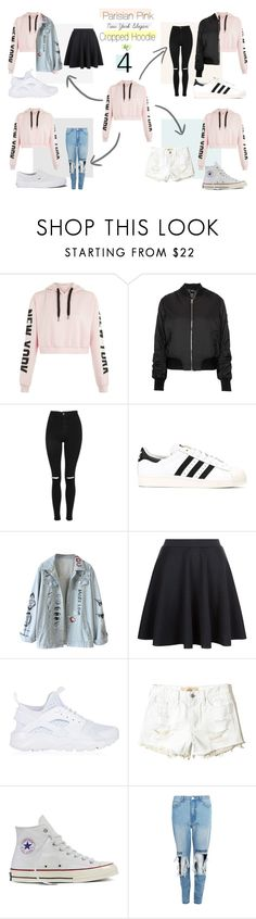 """Parisian Pink New York Slogan Cropped Hoodie in 4"" by raloisio on Polyvore featuring Topshop, adidas Originals, NIKE, Hollister Co., Converse, Boohoo and Vans"