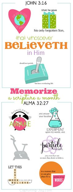 Memorize a scripture a month as a family with this free printable! Bible Verse Memorization, Scripture Study, Lds Scriptures, Inspirational Scriptures, Church Quotes, Visiting Teaching, Lds Church, Bible Crafts, Activity Days