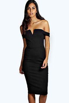 Cara Bardot Midi Bodycon Dress