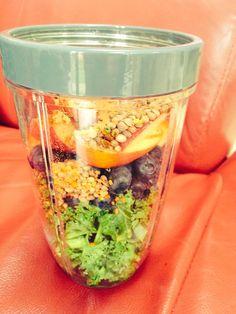 Kale,blueberries,apple,hemp seeds,maca root, bee pollen & next almond milk