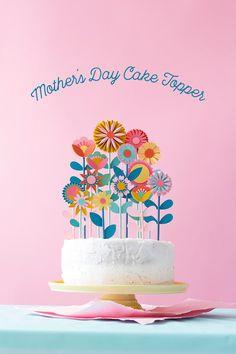 Mother's day floral cake topper / Fleurs sur le gâteau pour la fête des mères