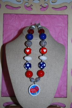 Chunky Bead/Bottle Cap Necklace  Rock Chalk by beadazzledkiddos, $16.00