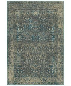 "Oriental Weavers Pasha 1337B 7'10"" x 11'10"" Area Rug $503.10 Deliberately faded for a vintage appearance, Persian-inspired vines and floral motifs in gray and teal hues wind across the deep blue ground of this magnificent Pasha 1337B area rug from Oriental Weavers."