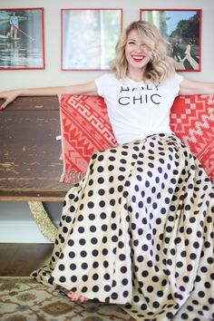 Brooke White from Glitter Guide looking gorgeous wearing our Waltzing Matilda Skirt. Polka Dots!