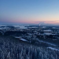 Sun goes down so fast this time of year. View from the Puijo tower in Kuopio.