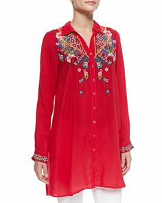 Myra Embroidered Button-Front Blouse, Women's  by Johnny Was Collection at Neiman Marcus.