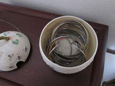 Storing hairbands in cute sugar bowls.pretty and practical Storage Shelves, Shelving, Sugar Bowls, Woman Bedroom, Bedroom Storage, Storage Solutions, Serving Bowls, Bracelets, Bangles