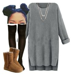 """When u chillin"" by trillest-queen ❤ liked on Polyvore featuring Michael Kors and UGG Australia"