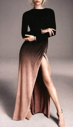 Sexy Round Collar Ombre High Slit Long Sleeve Dress For Women Product Details… Ombre Maxi Dress, Maxi Dresses, 60s Dresses, Woman Dresses, Daytime Dresses, Party Dresses, Sleeve Dresses, Wedding Dresses, Club Dresses