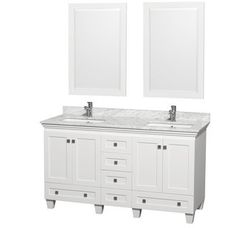 """View the Wyndham Collection WCV800060DWHCMUNSM24 60"""" Free Standing Vanity Set with Hardwood Cabinet, Marble Top, 2 Undermount Sinks, and 2 24"""" Mirrors from the Acclaim Collection at Build.com."""