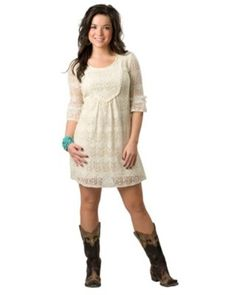 Young Essence Women's Beige 3/4 Sleeve Lace Dress