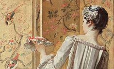 La toilette, 1742, François Boucher, détail: L'attitude de la femme de chambre a quelque chose d'exquis et son costume -d'un mauve pâle et d'un vert subtiles -est peut-être le plus beau morceau de la peinture. L'oeil est sans cesse distrait par la profusion de détails, le désordre pittoresque des bibelots et par tous les accessoires d'une vie douillette.