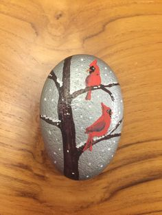 #Bird #Tree #Red #Cardinal #Northern #Snow #Winter #Holiday #Christmas #KindnessRocks #RockPainting #PaintedRock #KellyRocks