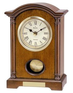 Image result for Bulova Vintage Wood & Glass Clock