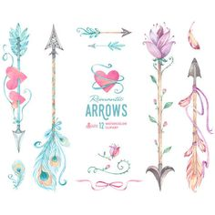 Romantic Arrows Watercolor Clipart. 12 Hand painted elements,... ($6.70) ❤ liked on Polyvore featuring home, home decor, tribal home decor, heart home decor, floral home decor, pink home decor and arrow home decor