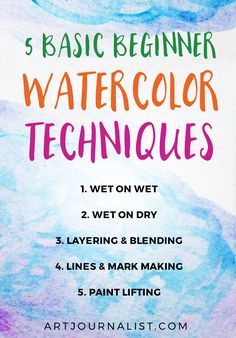 watercolor techniques for beginners Want to learn how to paint with watercolors? Here's 5 fun & easy watercolor painting techniques and 8 tips for beginners to help you get started! Watercolor Pencils Techniques, Watercolor Pencil Art, Watercolor Tips, Watercolor Projects, Watercolour Tutorials, Simple Watercolor, Abstract Watercolor Tutorial, Watercolour Flowers, Watercolor Beginner