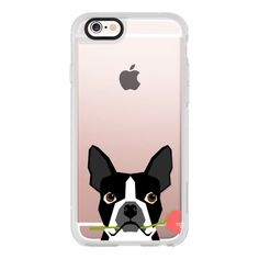 Boston Terrier owners will love this valentines day gift unique cell... ($40) ❤ liked on Polyvore featuring accessories, tech accessories, iphone case, apple iphone case, iphone cell phone cases, iphone hard case, iphone cover case and iphone cases