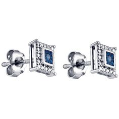 Jewelry Masters : .05 Carat Brilliant Round Blue Diamond Stud Earrings [75120] - $200.00$95.00
