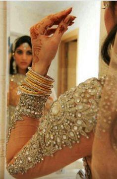 Bejeweled sleeve lengha sari blouse