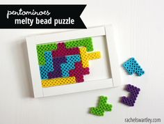 LOVE this idea! What a great way to use those Pyssla beads we have! Perler Bead Puzzle - Pentominoes #kids #games #crafts