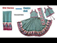 Transform Old Saree to Designer Chaniya Choli for 8 to 9 year baby girl Dress Paterns, Kids Dress Patterns, Chaniya Choli For Kids, How To Wear A Sari, Chanya Choli, Girls Frock Design, Sari Dress, Choli Designs, Frocks For Girls