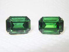 Vintage Cufflinks Emerald Green Cut Glass Cuff Links Signed Dante by LadyandLibrarian, $85.00 #vintage #cufflinks #ladyandlibrarian