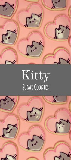 Pusheen at Heart Cookies Pusheen Cookies, Cat Cookies, Cupcake Cookies, Cupcakes, Kawaii Cookies, Sugar Cookie Royal Icing, Soft Sugar Cookies, Fancy Cookies, Bolacha Cookies
