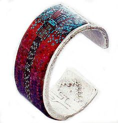 Carl Clark   Bracelet, 2001   sterling silver , turquoise, coral, sugulite, lapis lazuli, black jet, shell