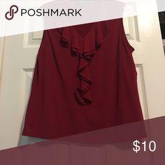 Sleeveless blouse Red sleeveless blouse with ruffled neckline, like new Kasper Tops Blouses