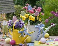 Brightly Colored Watering Cans - Ribbon - Pansies - Eggs