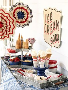 An ice cream bar stocked with sweets to enjoy an All-American treat!