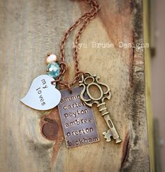 Mixed metal for several names, with my loves heart or personalize, aqua drop and peach pearl and large antique vintage style gold key