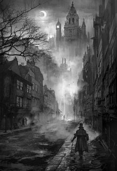 London street by nkabuto (Phuoc Quan) on devianArt, city view, black and white, man, pavement, buildings, architechture, dark, night, moon, castle, fabulous, beautiful, fantasy art.