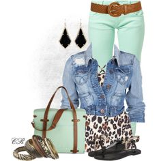 """""""Mint & Leopard"""" by colierollers on Polyvore"""