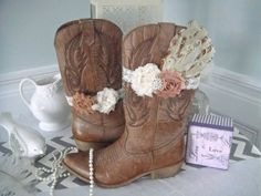 Shabby Chic Boot Band, Boot Accessories,Cowgirl Boot Band, Boot Bracelet With Feather Pad on Etsy, $10.00