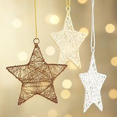 """Favor Idea: Tinsel Star Ornaments - Add a """"when you wish upon  a star"""" quote or a L & C ribbon"""