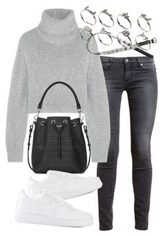 """""""Untitled #1946"""" by mariie00h ❤ liked on Polyvore featuring Paige Denim, Dion Lee, Yves Saint Laurent, NIKE, H&M, ASOS and Inspired"""