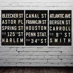 NYC subway stops signs New York Subway, Nyc Subway, Typography Prints, Typography Poster, Family Subway Art, New York Decor, Street Names, London Underground, Sign Printing