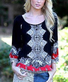 Look what I found on #zulily! Black & White Scarf Print Scoop Neck Top - Plus #zulilyfinds