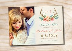 Rustic Floral Antlers Save the Date - Digital File by PaperHeartCompany on Etsy https://www.etsy.com/listing/227367844/rustic-floral-antlers-save-the-date