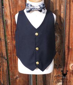 Boys Black Formal Wear Vest With Gold Buttons Toddler Boy
