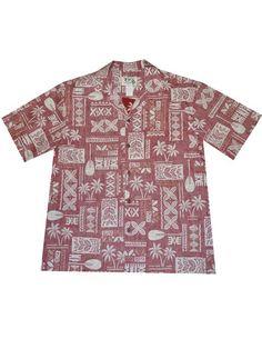 1872df3e5 KY'S Traditional Tapa Red Men's Hawaiian Shirt   AlohaOutlet Mens Hawaiian  Shirts, Button Down Shirt