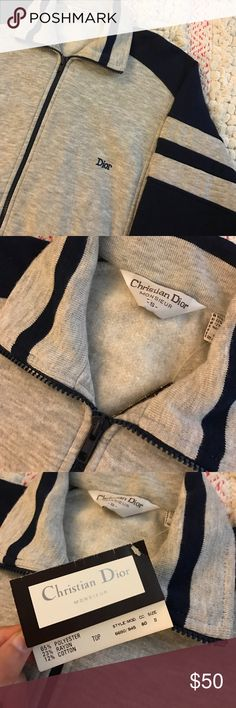 Vintage Christian Dior Zip Up! Here's an amazing vintage dead stock new with tags Christian Dior zip up! In great new condition! Size Small! It's Christian Dior men's but it can totally be unisex! Nice and cozy and amazing! Light gray and navy! 💯 authentic! Christian Dior Jackets & Coats